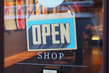 open sign in storefront