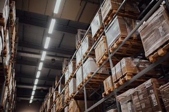 shelves in a warehouse